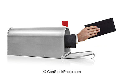 Mailman with envelope - Mailman holding a black envelope