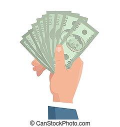 main, à, argent, vecteur, illustration, dans, plat,...