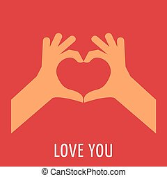 main, à, coeur rouge