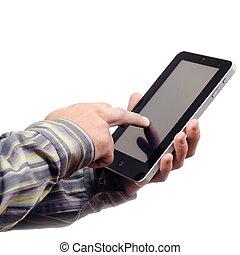 main, à, pc tablette
