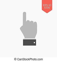 main, à, pointage doigt, icon., plat, conception, gris, couleur, symbole., moderne, ui, navigation web, signe.