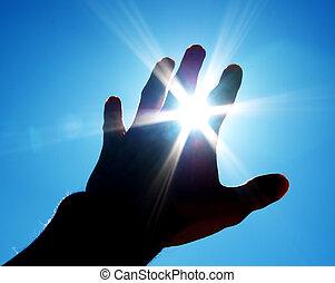 main, à, soleil