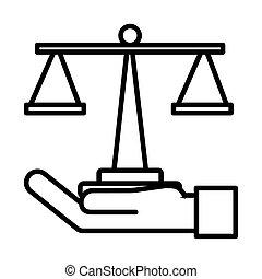 main, échelle, style, levage, équilibre, ligne, icône