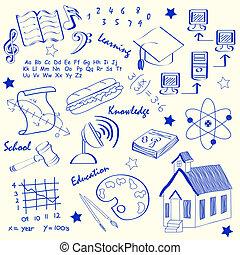 main, école, ensemble, dessiné, icônes