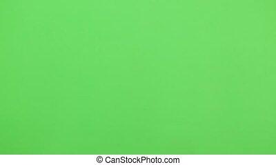 main, écran, arrière-plan., vrai, footage., toucher, multiple, gestes, vidéo, multi, vert, exécuté, temps
