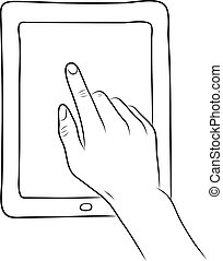 main, écran tactile, sur, pc tablette