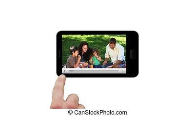main, écran, utilisation, pré, smartphone