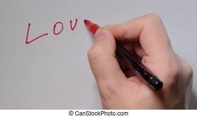 main, écrire, planche, vous, blanc rouge, amour, pen.