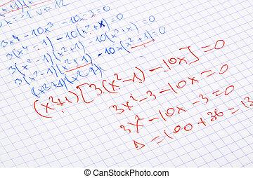 main écrite, maths