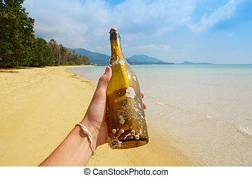 main, île, message, bouteille, exotique