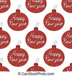 main a fait, modèle, balles, seamless, noël heureux, effet, dessiné, année, nouveau, isolé, intérieur., neiger, arbre, lettrage, blanc, arrière-plan.