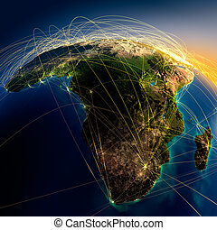 Main air routes in Africa and Madagascar