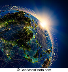 Main air routes in Asia - Highly detailed planet Earth at...