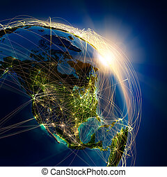 Main air routes in North America - Highly detailed planet ...