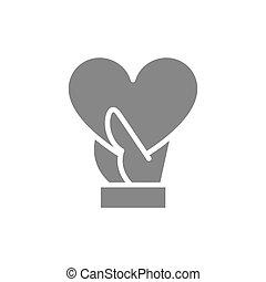 main, amour, coeur, aimer, réaction, tient, part, gris, icon., symbole, grand