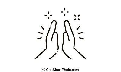 main, applaudir, animation, icône