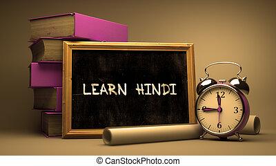 main, apprendre, hindi, dessiné, chalkboard., concept