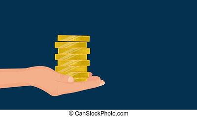 main, argent, économie, levage, dollars