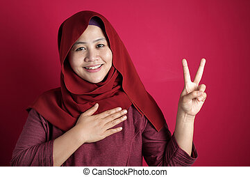 main, asiatique, promesse, geste, poitrine, gage, musulman, femme, confection