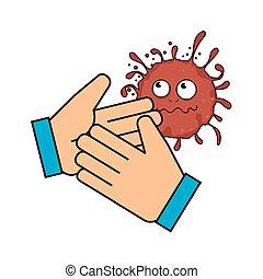 main, bactérie, germes