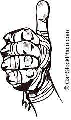 main bandée, haut, pouces
