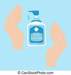 main, banner., botlle, toile, sanitizer, conception, concept, système sanitaire