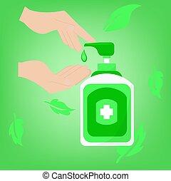 main, banner., savon, botlle, toile, sanitizer, ou, conception, concept, système sanitaire
