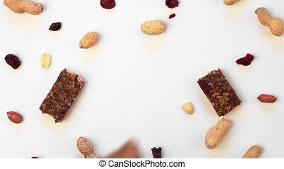 main, barres, vue., snacks., ingrédients, céréale avoine, sommet, protéine, granola, superfood, prend