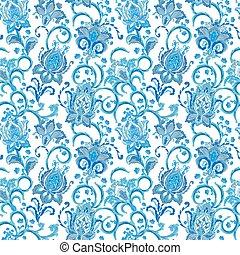 main, bleu fleurit, modèle, bizarre, seamless, fleur, paisley., dessiné, blanc, (tile)., fond, textile., coloré