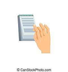 main, bloc-notes, isolé, icône, fourniture
