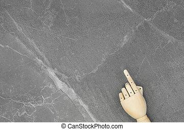 main bois, gris, arrière-plan., marbre