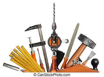main, bricolage, authentique, outils, fond, blanc, ensemble, charpentier