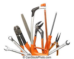 main, bricolage, authentique, outils, fond, blanc, ensemble