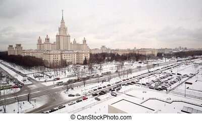 Main building of Moscow State University at winter, view...
