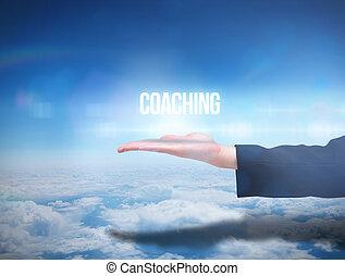 main, businesswomans, présentation, entraînement, mot