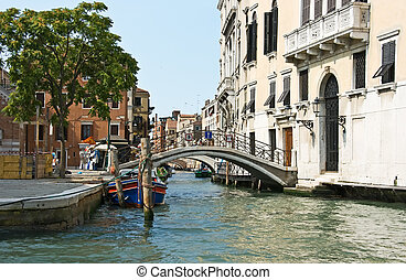 Main canal of Venice in clear sunny day