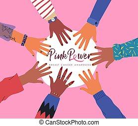 main, cancer, rose, femmes, conscience, divers