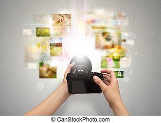 main, captures, événements vie, à, appareil-photo numérique