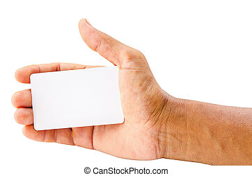 main, card., tenue, vide