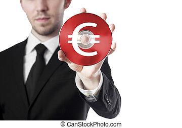 main, cd, euro, tenue, homme