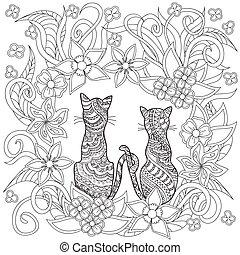 main, chats, dessiné, décoré, fleurs, dessin animé