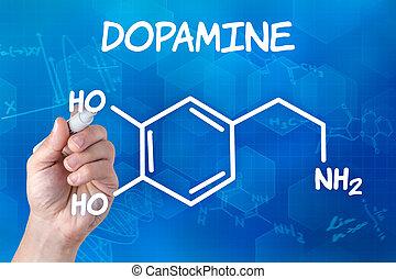 main, chimique, stylo, dopamine, formule, dessin