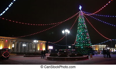 Main Christmas Tree And Festive Illumination On Soviet...