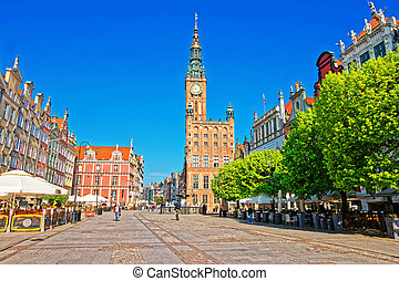 Main City Hall and Dlugi Targ Square in Gdansk