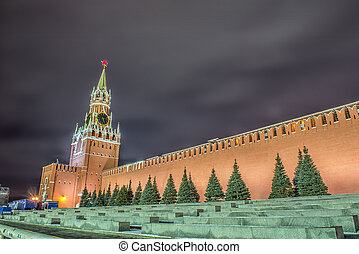 Main Clock named Kuranti on Spasskaya Tower. Red Square. - ...