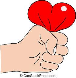 main, coeur