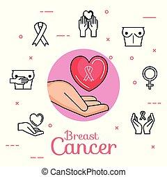 main, coeur, ensemble, cancer, icônes