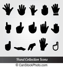 main, collection, vecteur, humain, icône