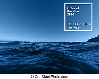 Main color trend 2020 classic blue pantone. surface waters of the sea with blue waves
