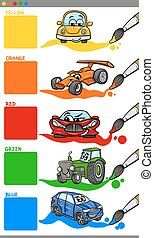 main colors cartoon with vehicles